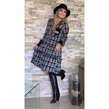 Sukienka krata by o la la nowa S BY O LA LA