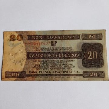 Bon Towarowy Pekao 20 Dolarow 1979r Stemplowany