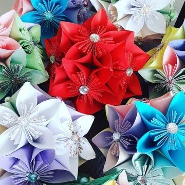 Kula kwiatowa papierowa DIY brokat perelki ozdoba