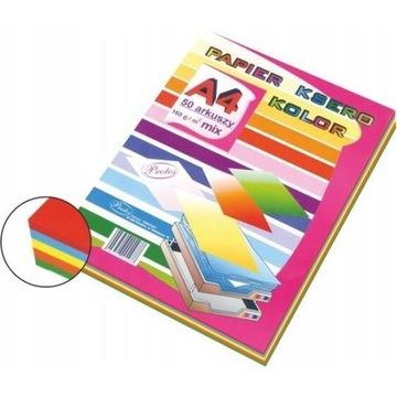 Papier ksero kolorowy mix A4 160g 3x50 ark brystol