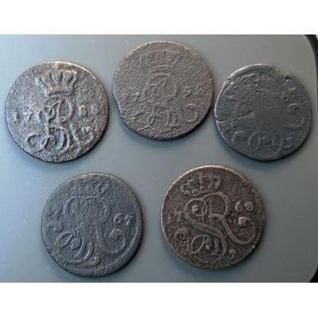 Polska, SAS 1 grosz, 1767-1792 r. LOT - 5 szt.