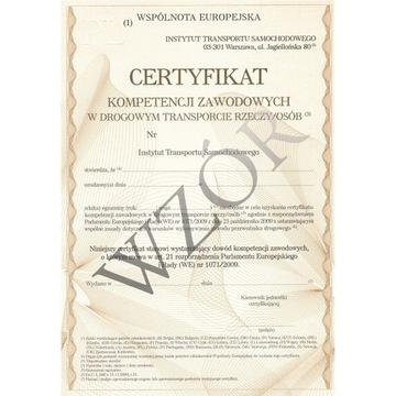 Certyfikat Kompetencji Zawodowych - przewóz rzeczy