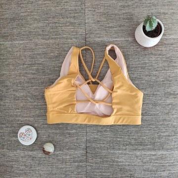 Stanik sportowy do jogi i fitnessu żółty M