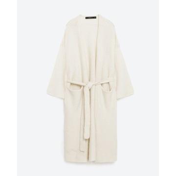 ZARA sweter długi kardigan szlafrok S/36 NOWY biał