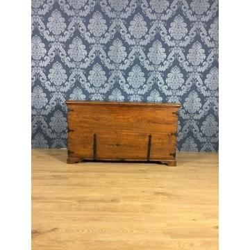 Drewniana skrzynia posagowa antyk, dębowy kufer,