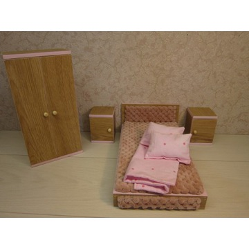 sypialnia dla lalek łóżko pościel  szafa szafka