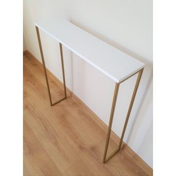 Konsola złota biały mat loft stolik półka
