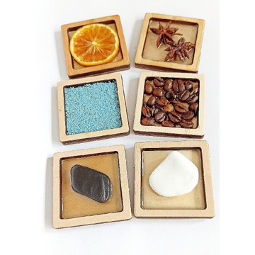 Małe panele sensoryczne 6x6cm naturalne dyski