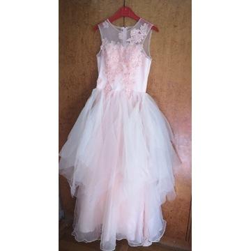 Szyfonowa suknia ślubna  wieczorowa balowa 38
