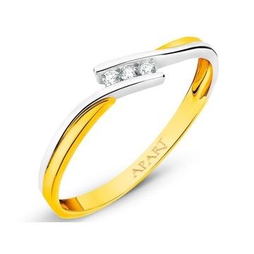 Pierścionek z żółtego złota z brylantami APART
