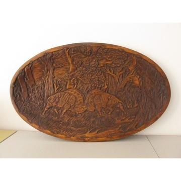 duża zabytkowa patera / relief z motywem żubrów