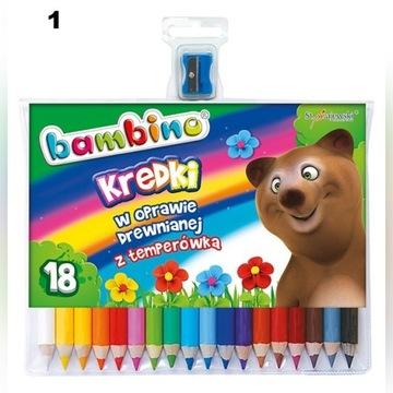 Kredki ołówkowe 18 kolorów + temperówka Bambino