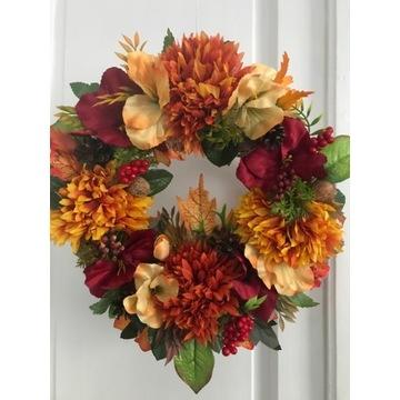 Jesienny stroik duży  wianek dekoracja na drzwi