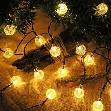 LAMPKI SOLARNE OGRODOWE GIRLANDY LAMPY 50LED 9.5M