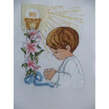 Komunia,rocznica ,pamiątka haft krzyżykowy