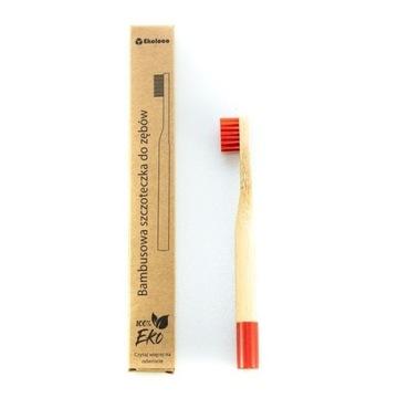 Bambusowa szczoteczka dla dziecka twarda czerwona