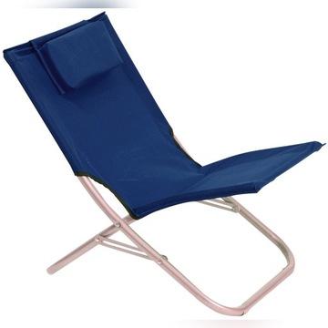Krzesło turystyczne rozkładane z poduszką granat