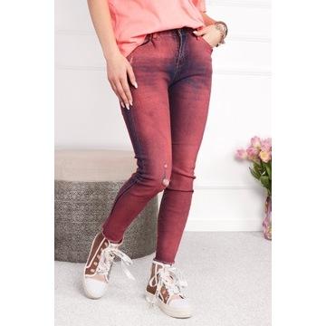 spodnie bastet jeansy  czerwone roz L