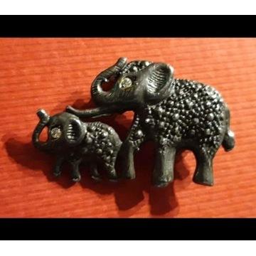 Broszka srebro słonie