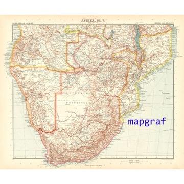 AFRYKA POŁUDNIOWA 2 stara mapa z 1906 roku 75