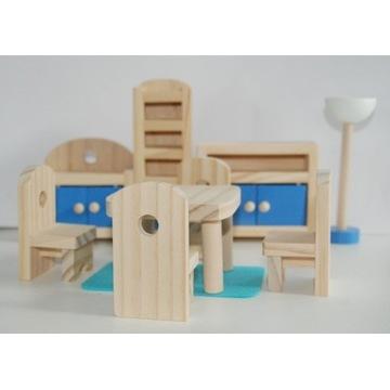 Zestaw mini mebelków drewnianych dla lalek