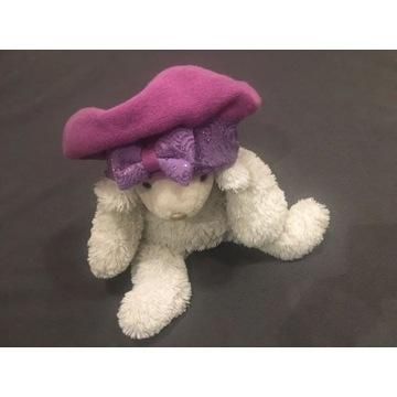 Nowy beret moher fioletowy kryształki 90% wełna