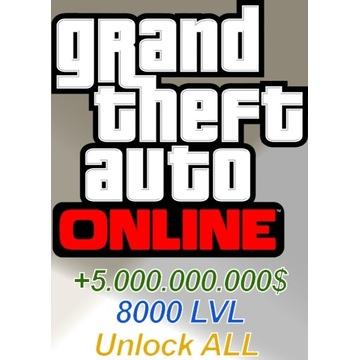 Gotówka do gry GTA Online 5miliardów oraz 8000lvl