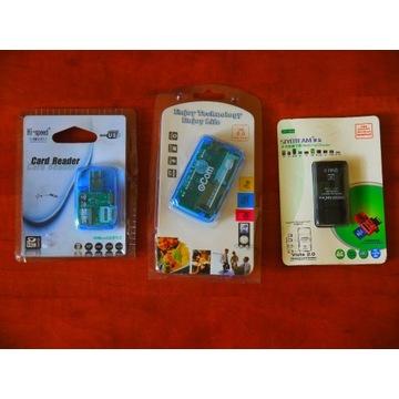 3 czytniki kart USB SD microSD MMC XD TF M2 MS Duo