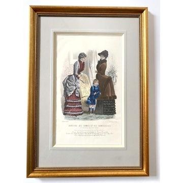 Moda Francuska, 1832, kolorowany akwarelą, Rempex