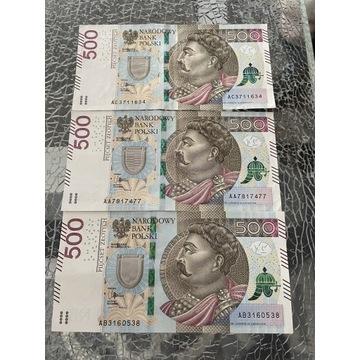 Banknoty 500 zł, seria AA AB i AC