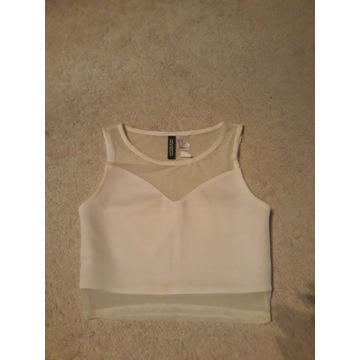 Nowy, krótki biały top H&M XS