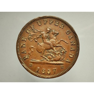 KANADA, 1857, BANK UPPER, ONE PENNY, TOKEN