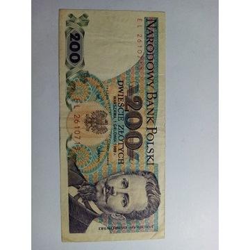Stare banknoty PRL 200 złotych  1988