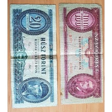 Banknot 20 husz forint i 100 szaz forint