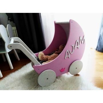 Duży wózek dla lalek drewniany na prezent