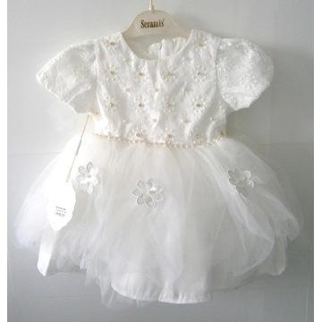 Sukienka dziewczęca biała roz. 116, 5-6 l