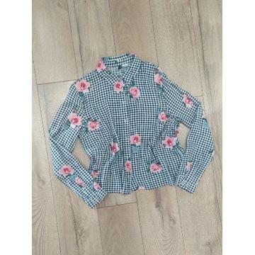 Koszula kratka biało czarna kwiaty krótka M H&M
