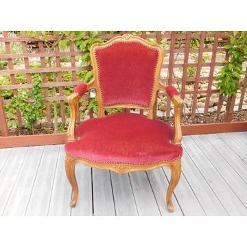 Fotel, krzeslo z oparciami bordowe w stylu rokoko