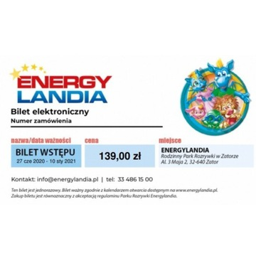 Bilet elektroniczny do energylandii normalny