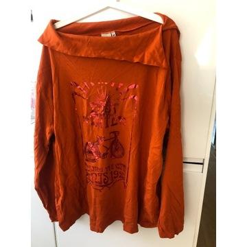 Nowa dłuższa bluza z nadrukiem Rozmiar 56