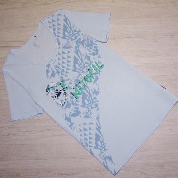 T-shirt Jasna Błękitna bluzka Napisy roz. 38/40