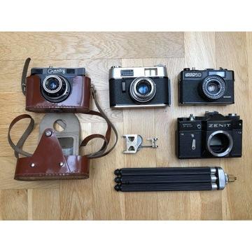 Zestaw starych aparatów Zenith, Smena, FED, Agfa