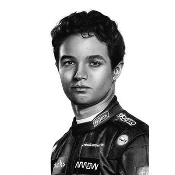 Lando Norris Rysunek portret na zamówienie A4 A3