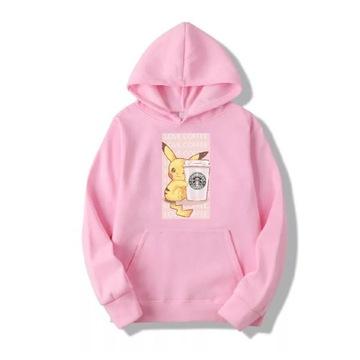 Bluza pudrowy róż pikachu pokemon Starbucks