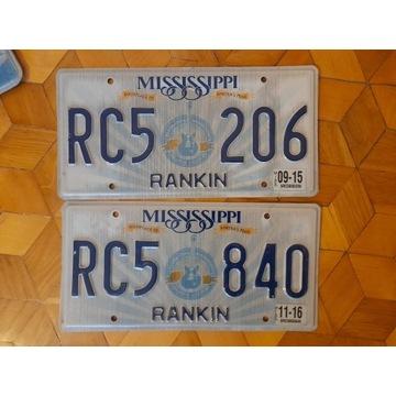 Mississippi 2 tablice rejestracyjne usa oryginal