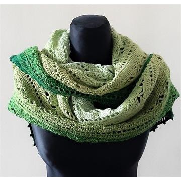 Chusta handmade, rękodzieło, zieleń ombre