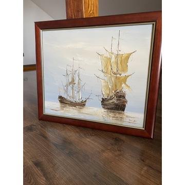 Obraz olej na płótnie statki okręty 70x60 cm