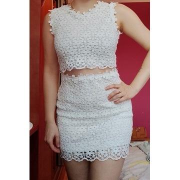 Biala koronkowa sukienka