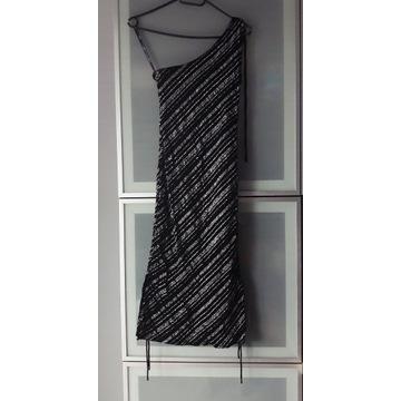Czarna brokatowa sukienka na jedno ramię rozmiar S