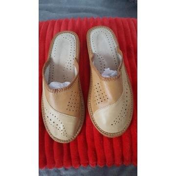 Pantofle damskie skórzane 37